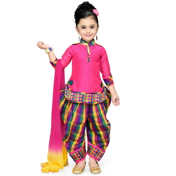 Pink Plain Cotton Kids Kurtis