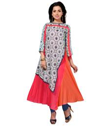 Multicolor printed cotton silk kurti