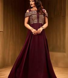 Khwaab Cold Shoulder Plum Colour Floor Length Gown