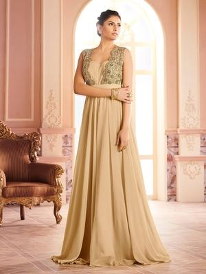 Khwaab Golden Jacket Style Sleeveless Evening Gown