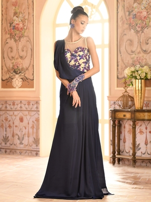 Khwaab Fusion Boat Neck Draped Gown