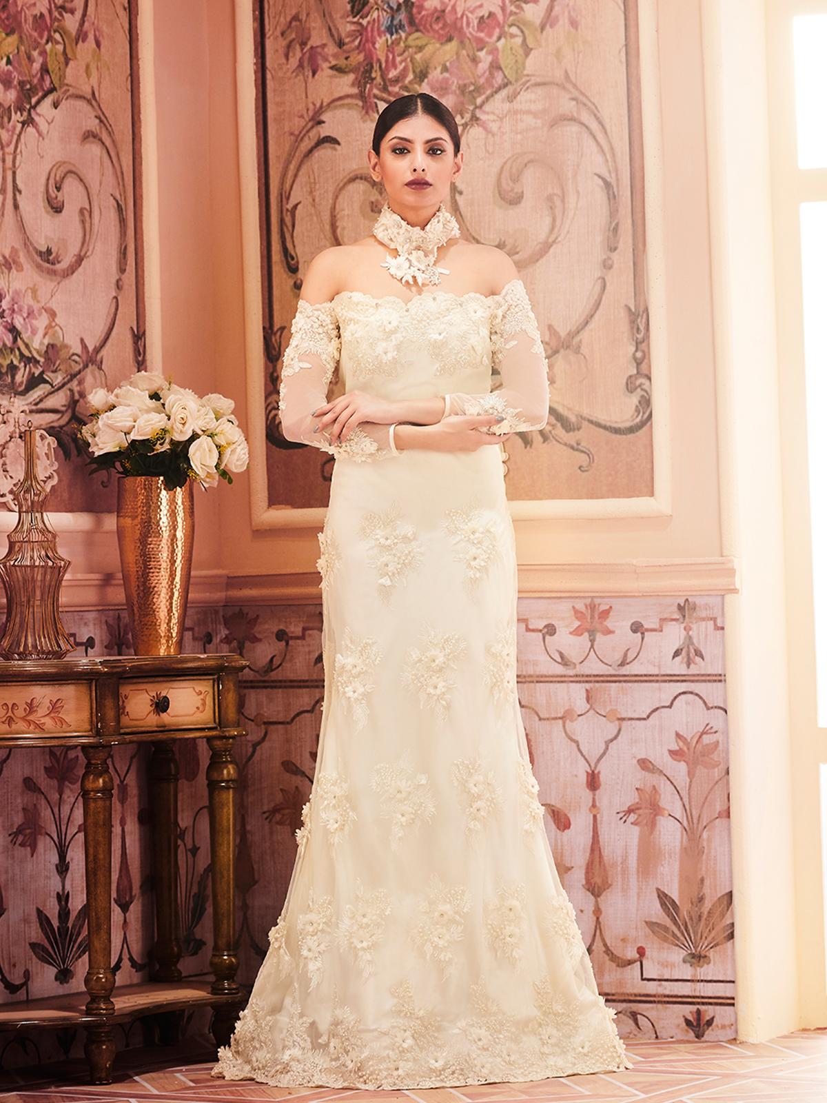 Jual Kleinfeld Off The Shoulder Long Bridesmaid Dress Update 2018 Floral Print Womenamp039s Bohemian Chiffon Maxi Floor Length Indian Wedding Dresses For Girls Designer Bridal Online