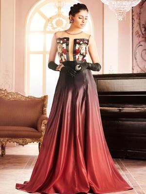 Khwaab Red-Black Shaded Sheath Gown
