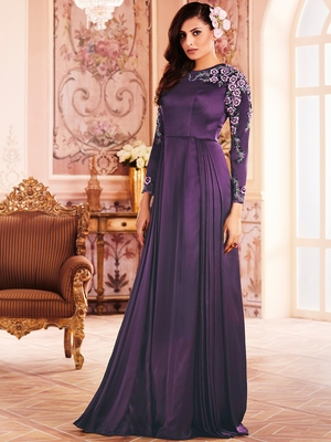 Khwaab Purple Pleated Princess Prom Gown