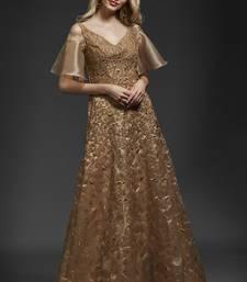 Khwaab Golden Organza Aline Gown party-wear-gown