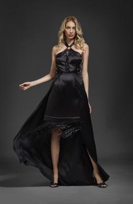 Khwaab Black Fringe Halter Gown
