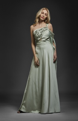 Khwaab Pale Green Fringe Gown