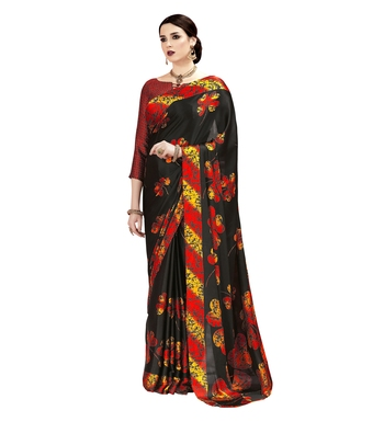 Black Woven Crepe Silk Saree With Blouse