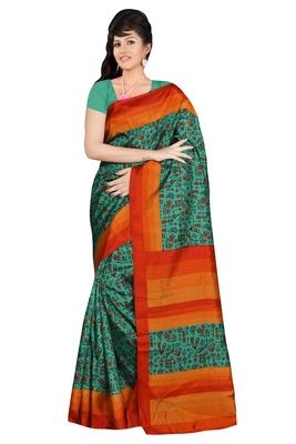 Green Woven Patola Silk Saree With Blouse