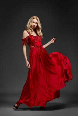 Khwaab Red Cold Shoulder Sequin Gown