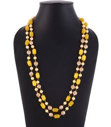 Yellow Colour Monalisa Beads Necklace With Tanjore Art Work Pearl