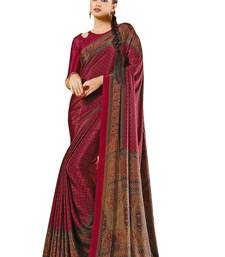 Red printed crepe saree with blouse indian-dress