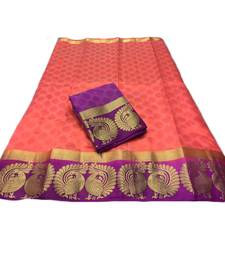 Multicolor woven tussar silk saree with blouse