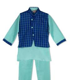 Buy ROYAL KURTA PYJAMA WITH STYLISH JACKET - MINT GREEN/ROYAL BLUE boys-kurta-pyjama online