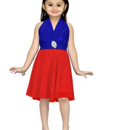 Buy Blue Plain Net Kids Frocks kids-frock online