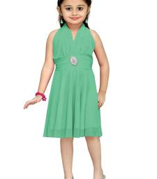 Buy Green Plain Net Kids Frocks kids-frock online