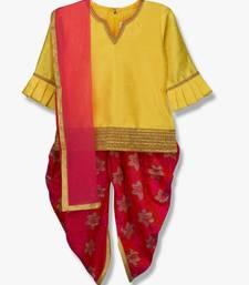 Buy YELLOW KURTI WITH DHOTI PEPLUM STYLE kids-salwar-suit online
