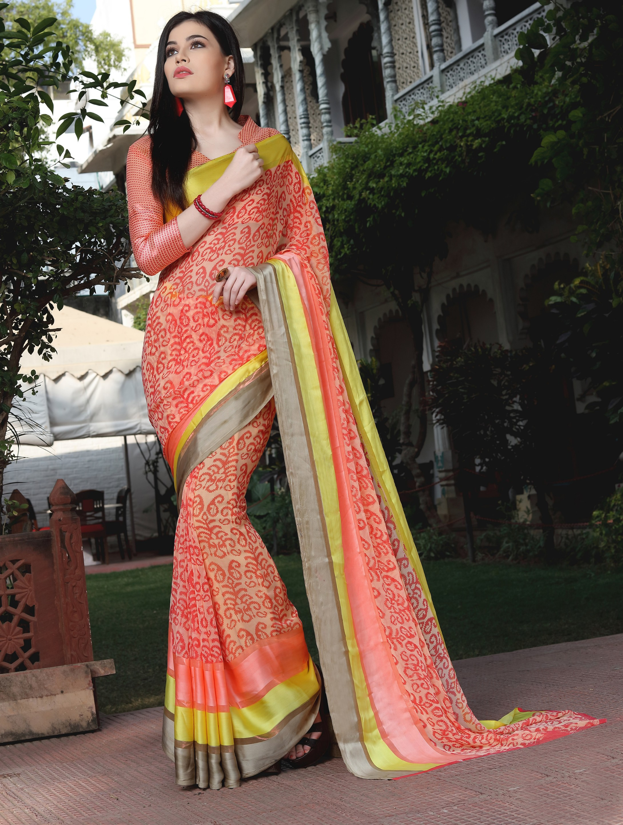 1044ea84d4 Shaily Multicolor Printed Satin Saree With Blouse - Shaily - 2742536
