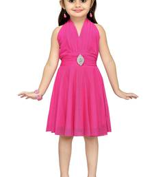 Pink Plain Net Kids Frocks