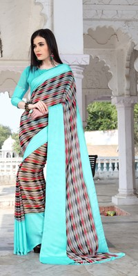 Shaily Multicolor Printed Satin Saree With Blouse