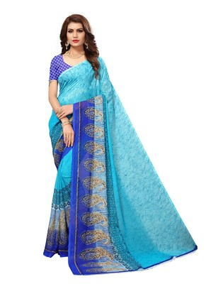 Multi-Coloured Printed Georgette Saree With Blouse