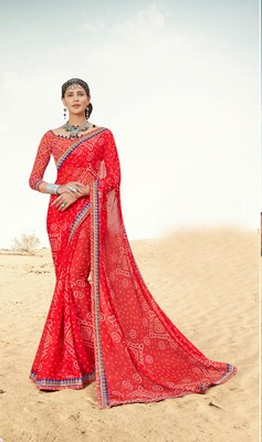 Shaily Red Printed Chiffon Saree With Blouse