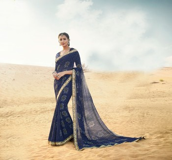 Shaily Blue Printed Chiffon Saree With Blouse
