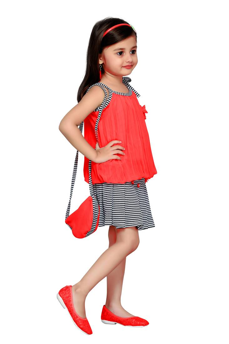 57fcdf4f5779 Peach Plain Georgette Kids Tops - Aarika - 2742615