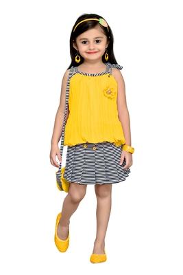 Yellow Plain Georgette Kids Tops
