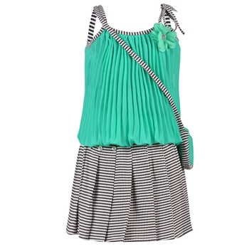 Green Plain Georgette Kids Tops