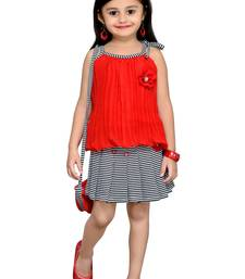 Red Plain Georgette Kids Tops