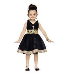Buy Black Plain Net Kids Frocks kids-frock online