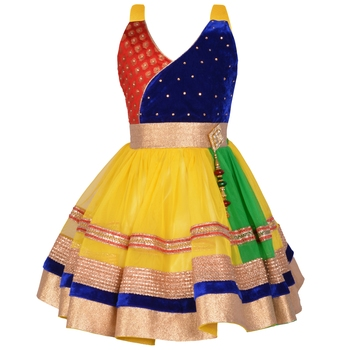 Yellow Crystals Net Kids Frocks