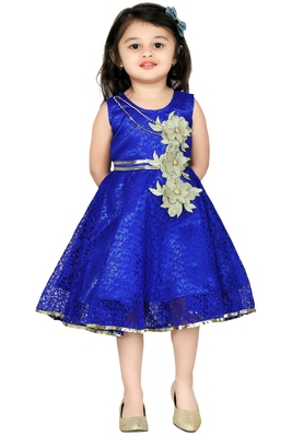 Blue Patch Work Net Kids Frocks