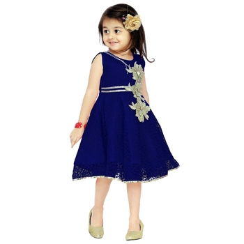 Navy Blue Patch Work Net Kids Frocks