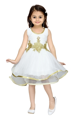 Cream Plain Net Kids Frocks