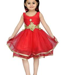 Peach Plain Net Kids Frocks