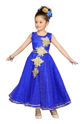 Blue Patch Work Net Kids Girl Gowns