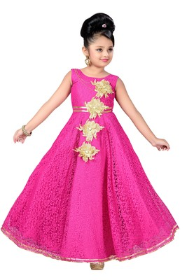 Pink Patch Work Net Kids Girl Gowns