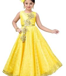 Yellow Patch Work Net Kids Girl Gowns