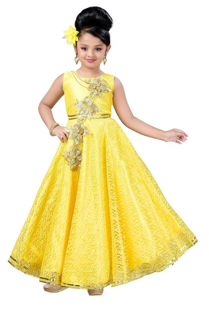 e869990a37c93 Yellow Patch Work Net Kids Girl Gowns - Aarika - 2742686