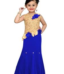 Blue Plain Velvet Kids Girl Gowns