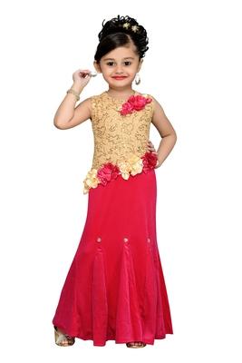 Pink Sequins Work Velvet Kids Girl Gowns