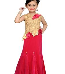 Pink Sequins Work Velvet Kids Girl Gowns