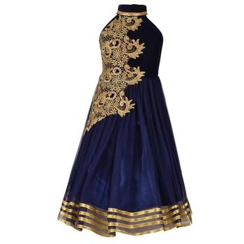 Navy Blue Embroidered Velvet Kids Girl Gowns