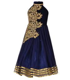Buy Navy Blue Embroidered Velvet Kids Girl Gowns kids-girl-gown online