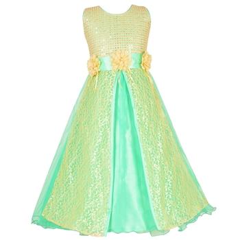 Green Sequins Work Net Kids Girl Gowns