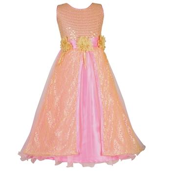 Pink Sequins Work Net Kids Girl Gowns