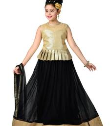 Gold Plain Fancy Fabric Kids Lehenga Choli