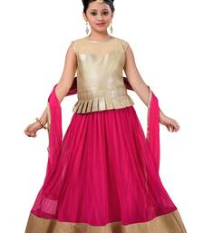 Gold Plain Fancy Fabric Kids Lehenga Choli
